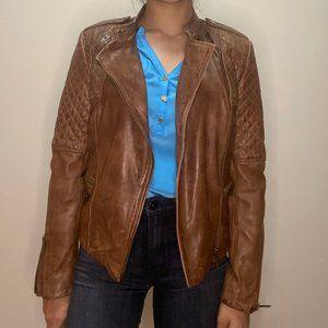 Mango Brown 100% Leather Biker Jacket
